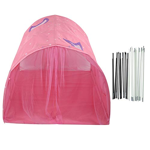 Children Play Tent, Foldable Baby Playhouse Tent Crawling Tunnel, 2 in 1 Tent Bed for Indoor Outdoor Playhouse Camping Playground, Best Birthday for Children/Baby(Pink)