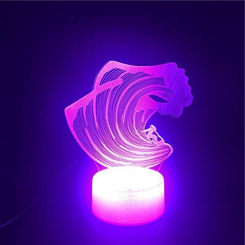 Diseño de arte único 3D LED luz nocturna sensor táctil luz multicolor con control remoto lámpara de mesa brillante productos para bebés luz nocturna