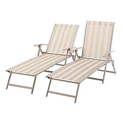 Mainstays Fair Park Sling Folding Chaise Lounge Chair, Set of 2
