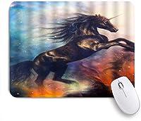 NIESIKKLAマウスパッド ユニコーン神話動物黒い馬ファンタジー星空カラフル ゲーミング オフィス最適 おしゃれ 防水 耐久性が良い 滑り止めゴム底 ゲーミングなど適用 用ノートブックコンピュータマウスマット