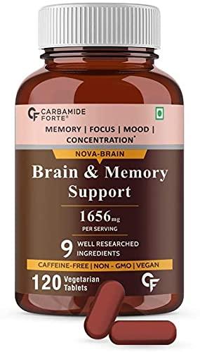 Myra Carbamide Forte Brain Support Supplement for Memory & Focus with Brahmi Bacopa Monnieri, Ginkgo Biloba with Ashwagandha & Shankpushpi – 120 Veg Tablets