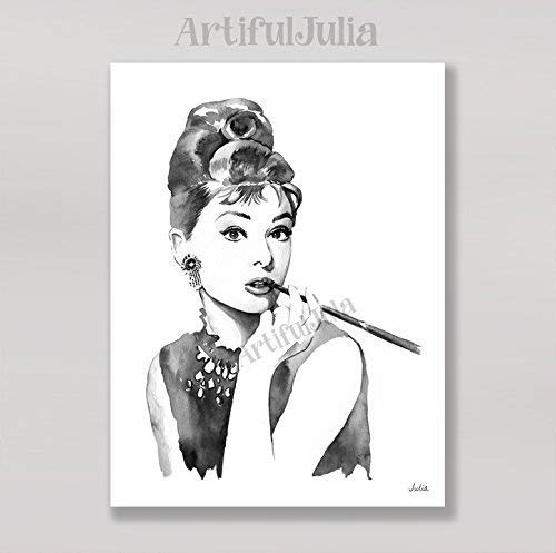 Audrey Hepburn print of watercolor painting, (NO FRAME, NO CANVAS), 5'x 7', 8'x 10', 9'x 12', 11'x 14' and 12'x 16'