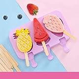Guizu Silikonform für EIS am Stiel/Wassereisformen Set,EIS am Stiel Bereiter mit 50 Holzstöcken Perfekt für Kinder, Baby,Erwachsene/Familie Partys DIY- Mini Kühlschrank(3 Fruchtstile)