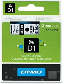 DYM45010 - Dymo Black on Clear D1 Label Tape, pack of 2