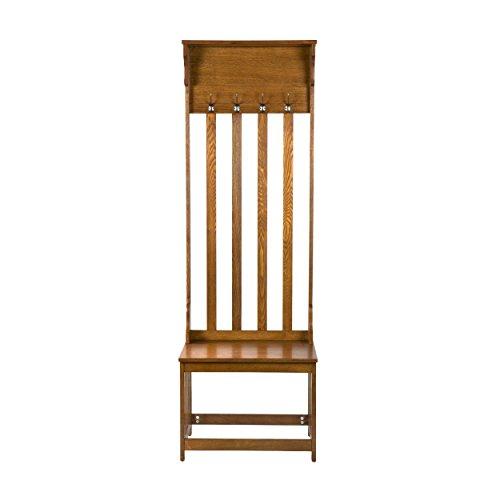 SEI Furniture Hall Tree Entryway Bench - All in One Storage w/Hooks & Shelf - Oak Finish