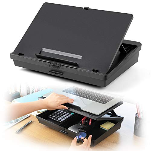 HUANUO Adjustable Lap Desk - Laptop Stand with Extra Storage Space & 7 Adjustable Angles, Fits up to...