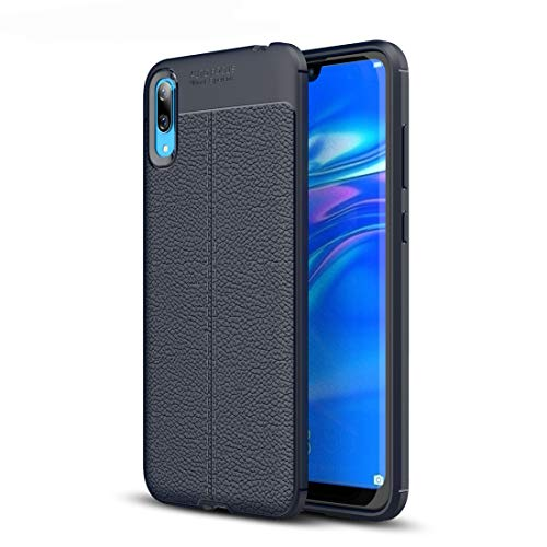 MDYHMC YXCY AYCD Litchi Texture TPU Funda a Prueba de Golpes para Huawei Disfruta 9 (Color : Navy Blue)