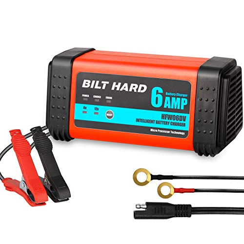 BILT HARD 6V/3A 12V/6A Smart Battery Charger, Fully-Automatic 7-Stage Trickle Battery Charger and Maintainer for Car, Boat, RV, ATV, Motorcycle, Lawn Mower Sealed Lead Acid Battery