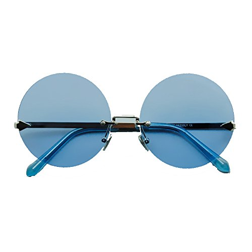 WZNING Sonnenbrille - Ultra Erwachsene Retro Runde Sonnenbrille Gering Stil John Lennon Sonnenbrille Vintage Look Qualität UV400 Elton John Lennon Brille Männer Frauen Größe -14.6x14.5cm (Color : D)