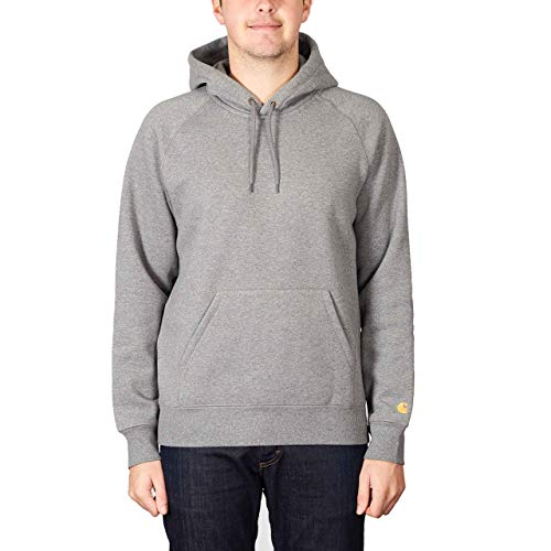 Carhartt Herren Hooded Chase Sweatshirt (Dark Grey Heather/Gold, Medium)