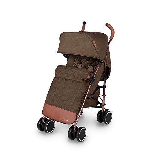 Ickle Bubba Discovery Max Stroller   Lightweight Portable Pushchair   from 6 Months to 4 Years   UPF 50 Hood, Rain Cover, Seatliner & Footmuff, Cup Holder   Khaki on Rose Gold Frame