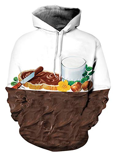 PIZOFF Unisex 3D Hoodie Pullover Long Sleeve Hooded Sweatshirts Pockets AM006-03-L Chocolate Cream