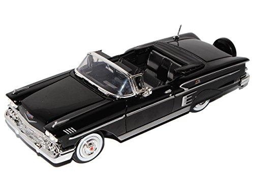 Motormax Chevrolet Chevy Impala Cabrio Schwarz Offen 1958 Oldtimer 1/24 Modell Auto mit individiuellem Wunschkennzeichen