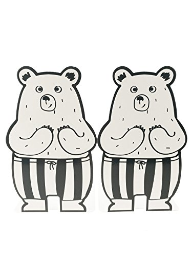Unigift A Pair of Cute Cartoon Bear with Pant Pattern Nonskid Metal Bookends for Kids Children Bedroom Library School Office Desk Study Gift (White)