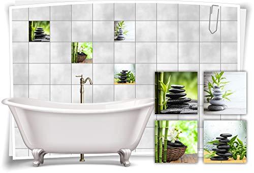 Medianlux Fliesen-Aufkleber SPA Wellness Bambus Steine Blüten Blätter Grün Schwarz Bad WC Deko Digitaldruck Sticker, 15x15cm