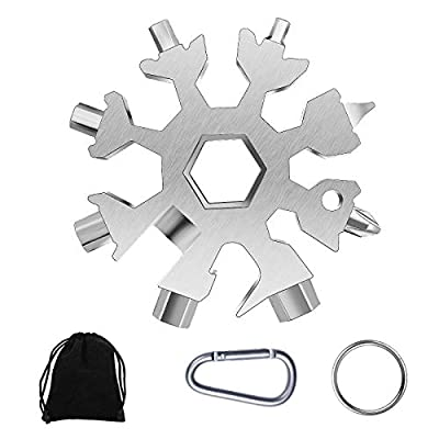 Snowflake Multitool, 1 Pcs 18-in-1 Stainless Steel Snowflake Standard Multitool, Snowflake Wrench with Key Ring, Carabiner Clip and Gift Pouch (Silver)