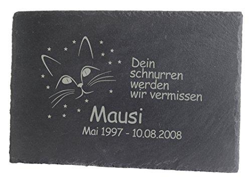 Feiner-Tropfen Gedenktafel Grabplatte Grabstein Schiefer mit Gravur 30x20 groß Katzen