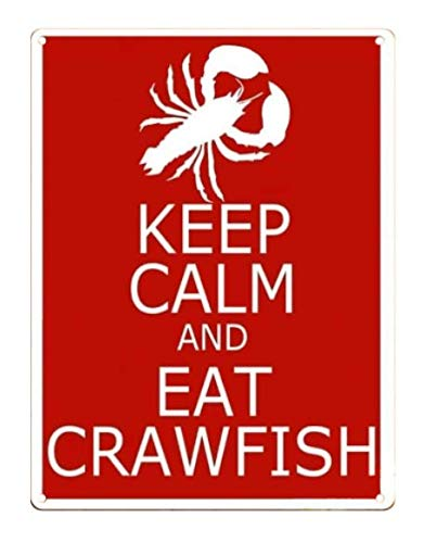 TIN Sign Keep Calm Eat Crawfish Louisiana Humor Red Wall Decor Metal Sign Cafe Bar Home Wall Art Decoration Poster Retro 8x12 Inches