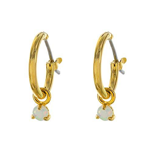 Columbus 14K Gold Plated Charm Huggie Hoop Earrings - Butterfly Earrings - Pearl Drops - Cowry Shell Dangle Earrings Heart Charm Huggies for Women (Opal Drop)