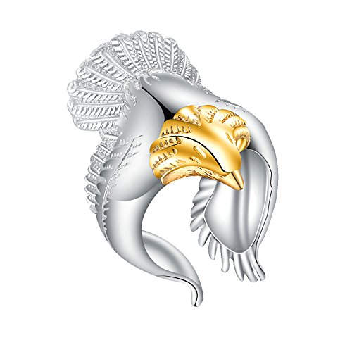 MIXIA Retro Eagle Wings Open Ring Wide Band Gothic Jewelry Adjustable Finger Ring (Gold)