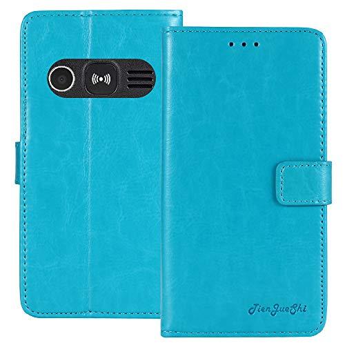 TienJueShi Blau Retro TPU Silikon Flip Book Stand Brief Leder Tasche Schütz Hülle Handy Hülle Für Doro 1361 2.4 inch Abdeckung Wallet Cover Etui