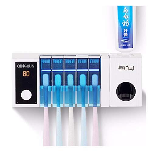 Soporte desinfectante para cepillo de dientes 2 en 1 UV esterilización por rayos UV y calefacción por infrarrojos, desinfección, dispensador de pasta de dientes, apto para todas las F