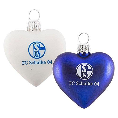 FC Schalke Glas-Herz 2er Pack Blau und Weiß