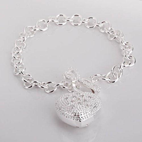 New Fashion Jewelry Classic 925 Sytle Women Beautiful solid silver Jewelry Heart Bracelet