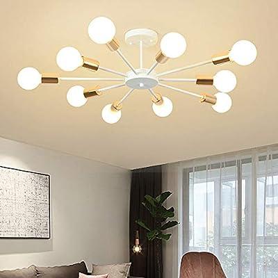 Jaycomey Flush Mount Ceiling Light,Modern White Sputnik Chandeliers,10-Light E26 Base Industrial Semi Ceiling Lights Fixture for Bedroom Living Room Kitchen Farmhouse