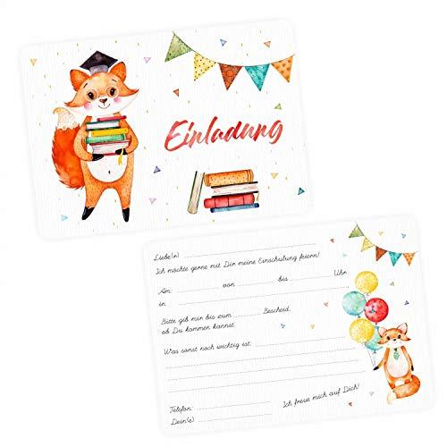5 Einladungskarten zur Einschulung Fuchs inkl. 5 transparenten Briefumschlägen Einladung Junge Mädchen Wimpelkette Luftballon bunt Aquarell