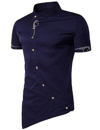 HAN-NMC Men 039;S Facile/Simple Tous Les Jours de l'été,Chemise Coton Manches Courtes Stand Solide d'autres, L, Bleu Marine