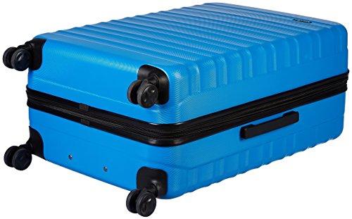 Amazon Basics - Set di trolley rigidi con rotelle girevoli, Set da 3 pezzi (55 cm, 68 cm, 78 cm), Blu chiaro