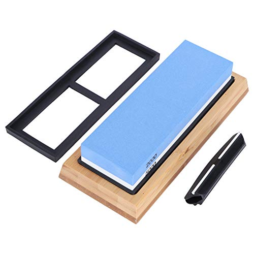 Whetstone Knife Sharpener, 2000/5000 Grit Double Sided Sharpening Stone with Anti-Slip Mat, Bamboo Mat and Base Angle Guide for Kitchen