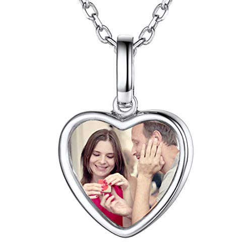 Custom Photo Necklace Text Engravable Memorial Full Color Picture Personalized Jewelry 925 Sterling...