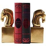 Sujetalibros En Forma De Caballo Dorado De Lujo Clásico De Oficina, Organizador De Libros De Mostrador De Biblioteca, Adornos Decorativos De Cerámica, Un Par ( Color : Gold , Size : 14*7*9cm )