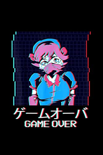 Japanese Vaporwave Anime Girl Aesthetic Game Over Harajuku Notebook Journal 114 Pages 6''x9''