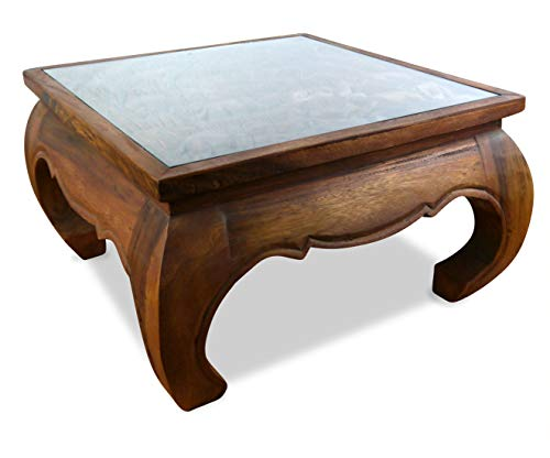 Preisvergleich Produktbild livasia Opiumtisch mit Glasplatte,  Elefantenschnitzerei,  Couchtisch,  Wohnszimmertisch