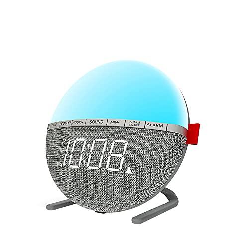 EASONGEE Wake Up Light LED Despertador,Wake-Up Light Alarm Clock Reloj digital de noche Lámpara con 8 sonidos naturales 7 colores cambiables Función de repetición para dormitorio junto a la cama