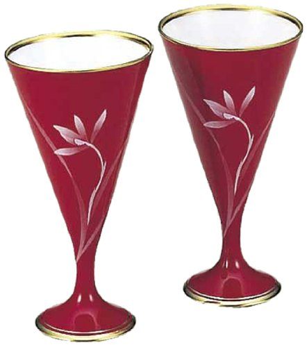 香蘭社 ベネチアンレッド ペアワインカップ VR1077-2BIV