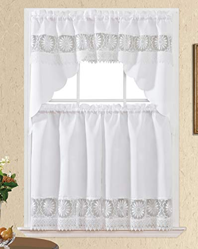 Daisy Dream. Kitchen Cafe Curtain Set for Small Windows. Satin Fabric with Matching Color Daisy Embroidery and Lace. (White, Swag and 36 inches Tiers Set)