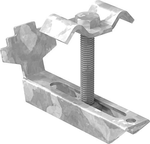 FeNau | Gitterrost-Klemme (Komplett-Satz) für Rosthöhe 40-50 mm und MW: 30/30 mm, S235JR, feuerverzinkt, Gitterrost-Sicherung, Gitterrost-Befestigung