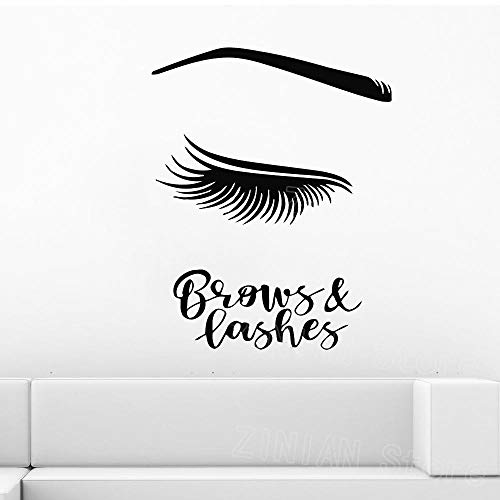 ZGHNZK Brows and Lashes Wall Decal for Spa Beauty Salon Girls Long Lashes Vinyl Stickers Gir Room Eyelashes Extensions Decoration 56X70 cm
