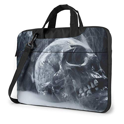 Neoprene Laptop Sleeve Case, White Smoke Skull Portable Laptop Bag Business Laptop Shoulder Messenger Bag Protective Bag 14 Inch
