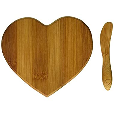 Kate Aspen Tastefully Yours Heart-Shaped Bamboo Cheese Board, Miniature Cutting Board, Sage Green/Brown
