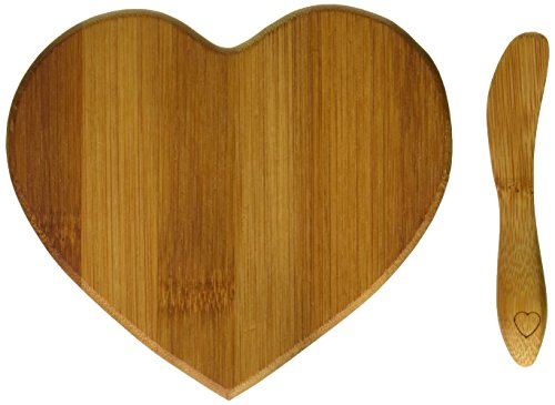 Kate Aspen Tastefully Yours Heart-Shaped Bamboo Cheese Board, Miniature Cutting Board, Sage...