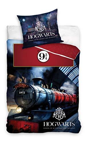 Carbotex – HP195018 – Harry Potter Juego de cama Treno Hogwarts Express 9 3/4 funda nórdica y funda de almohada original algodón – Multicolor – 160 x 200 cm y funda de almohada 70 x 80 cm