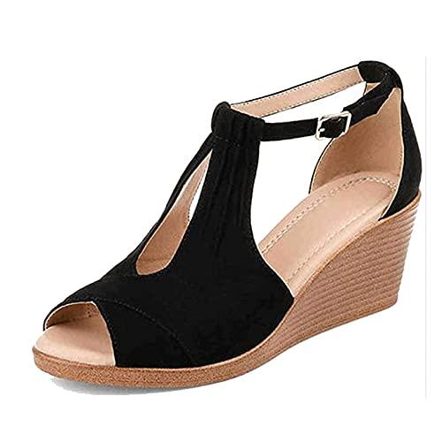FGDSA Sandalias de tacón con Plataforma y Punta Abierta para Mujer, Zapatos...