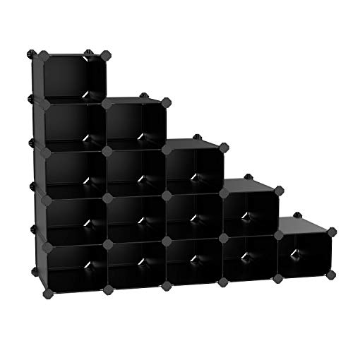 SONGMICS Rack,16 Modular Cube, Space Saving DIY Plastic Shoe Storage Organizer Units, Closet Cabinet, Ideal for Entryway Hallway Bathroom Living Room, Corridor Black ULPC44H