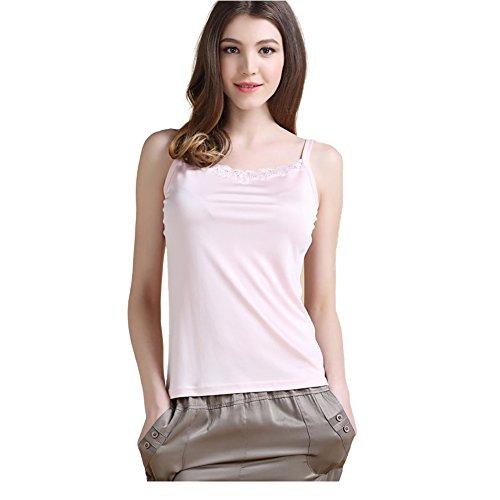 LoveSilk Damen Unterhemd Stricktops Shirt mit Spitze 100% Reine Seide Hellrosa Gr??e M