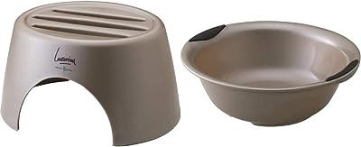 【セット買い】湯桶 すべり止め付き ブロンズ + 洗面器 置き カウンター